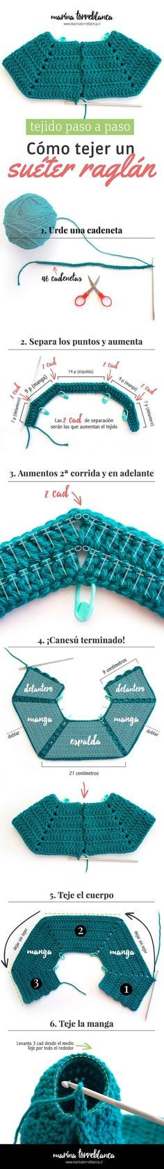 Explicado en fotos paso a paso, textos y tablas de medidas, ¡esta es la biblia que necesitas para tejer un sueter raglan a crochet!