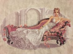 Abbi by Heritage Crafts. This is a gorgeous design that was fun to stitch. I did her on smokey white 25 count Lugana fabric. Cross Stitch Gallery, Heritage Crafts, Cross Stitch Supplies, Cross Stitching, Fabric Patterns, Stamp, Cross Stitch Patterns, Needlework, Reusable Tote Bags