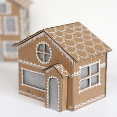 Tiny Cardboard Gingerbread Houses #crafty