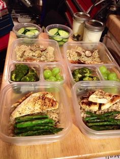 Meal Prep Monday. For a week of lunch, grill a package of chicken, tilapia, and asparagus- and sautéed mushroom and brown rice with only brags and ground pepper for a 0 cal seasoning. Yogurt and fruit in mason jars for dessert. Fruit and raw veggies for snacks. Pack quick oats to add hot water and have oatmeal for breakfast on the go or at the office. Eat better, feel better.