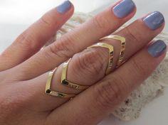 Gold adjustable chevron midi ring/mid ring/ by PanachebyAmanda, $12.20