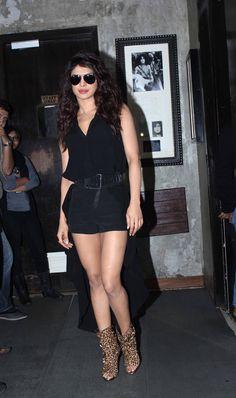 Priyanka Chopra in Black Shorts, Cheetah Print High Heels Pictures IndianRamp.com