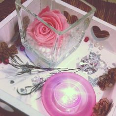 plateau bois bougie parfume rose naturelle ternelle dco romantique tout en rose - Plateau Romantique