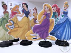 Disney Princess Centerpieces (7 characters) table decor Cinderella Snow White Tiana Aurora Belle Ariel
