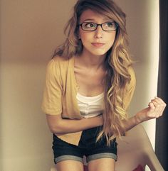 Girl With Glasses Long Blonde Hair