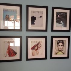 Framed magazine covers/fashion ads