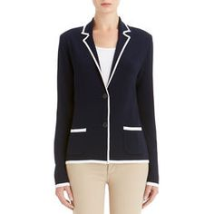 Pure comfort. Pure elegance. Pure and simple. Our cardigan jacket features a notched collar, two front patch pockets and two-button closure. It's a classic -- destined to become a grab-and-go favorite.  . Viscose, Nylon . Button Front . Approx. Length is 24.5 in. . Approx. Sleeve Length is 30.5 in. . Machine Wash . Imported . Style Code: 10527598