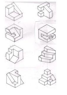 DIBUJOS ISOMETRICOS:  1.CONTENIDO:   DEFINICION:    Unaproyección isométrica es u... Isometric Sketch, Isometric Cube, House Design Drawing, Sketch Design, Isometric Drawing Exercises, Orthographic Drawing, Art Cube, Interesting Drawings, Architecture Concept Drawings