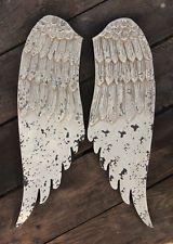 Angel Wings White Wood Wall Plaque, Shabby French Country Farmhouse Decor, Chic