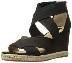 FRYE Women's Roberta Strap Espadrille Wedge Sandal, Black, 8.5 M US -- Check this awesome product by going to the link at the image.