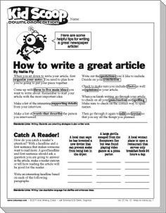 How to write a middle school newspaper article Writing Posters, Writing Jobs, Writing Lessons, Newspaper Article Template, School Newspaper, Newspaper Report, News Articles For Kids, Editorial Articles, English Newspapers