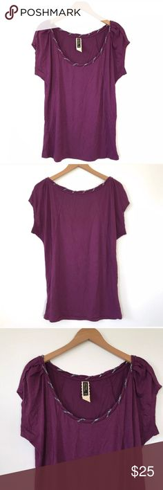 """🌺Anthro Ric Rac top with braided design - M Super soft comfy top in great condition. Bust 23"""", length 27"""". Material 94% Rayon, 6% Spandex. It's a flowy style, not fitted. Anthropologie Tops Tees - Short Sleeve"""