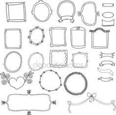 ヴィンテージ ラベル セット、手描きの落書きとデザイン要素、華やかなフレーム、バナーおよび分離されたリボン — ストックベクタ