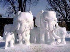 Snow Elephants on the quad in Tuscaloosa 2014