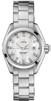 231.10.30.61.55.001   NEW OMEGA AQUA TERRA QUARTZ WOMENS LUXURY WATCH     Usually ships within 8 weeks - FREE Overnight Shipping - NO SALES TAX (Outside California)- WITH MANUFACTURER SERIAL NUMBERS- Teak-Silver Dial with Diamonds  - Battery Operated Quartz Movement- 3 Year Warranty  - Guaranteed Authentic - Certificate of Authenticity- Scratch Resistant Sapphire Crystal - Brushed with Polished Steel Case