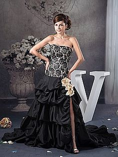 Strapless Satin and Lace Pick Up Evening Dress with Flower Detailed Slit - USD $235.00
