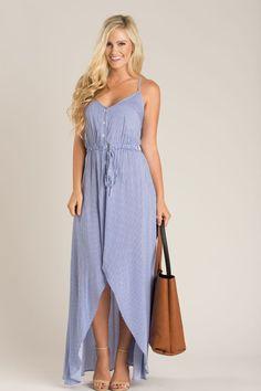 Carissa Blue Striped High Low Maxi Dress – Morning Lavender