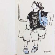Woman in a train in Berlin Ubahn