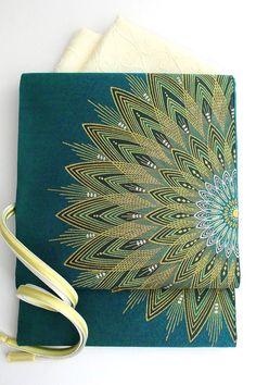 【となみ織物】謹製西陣織特選袋帯となみ帯紹巴織華文/青緑色