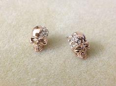 Skull earrings - Skull earrings in rose gold, skull rhinestone earrings. $13.00, via Etsy.