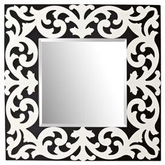 "Rectangular wall mirror with a black and silver scrollwork frame.  Product: Wall mirrorConstruction Material: Mirrored glassColor: Black and whiteDimensions: 36"" W x 36"" D Note: Assembly required"