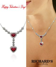 Ruby heart-shaped and diamond necklace in 18k white gold