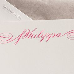 Bone White Empire Card with Plain Edge and Calligraphy in Hot Pink, Envelope lined with Silver Tissue. Calligraphy by Kelly House. Monogram Stationary, Monogrammed Stationery, Oyster Bay New York, Bay News, Wedding Stationery, Wedding Invitations, Hand Engraving, Letterpress, Oysters