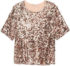 H&M - H&M+ Sequined Top - Rose gold-colored - Ladies