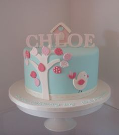Chloe's little birdie christening cake