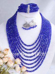 Amazing Royal Blue Crystal Necklace, African Wedding Jewelry Set $33.52