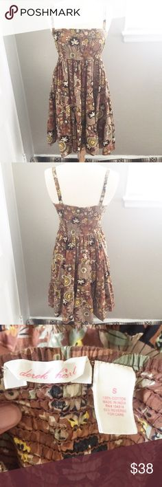 Brown Hippie/ Boho Floral SunDress Feel free to make a reasonable offer or add to a bundle for 15% 2 or more items  Also, ask any questions! I am here to help! Dresses Mini