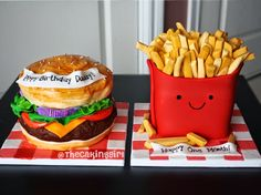 Hamburger and French Fries Cake. fastfood cake, fondant/gumpaste. www.thecakinggirl.ca
