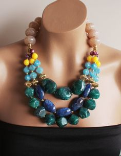 Large Chunky Eclectic Bold Colorful Jewel Toned Beaded Statement Necklace,