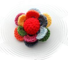 Crochet Flor Multicolor Flor Ramillete broche por delante Inspiracion ❥Teresa Restegui http://www.pinterest.com/teretegui/❥