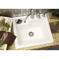 Utility Sink - Laundry Tub with Washboard, Microban Protected - Westerly by CorStone - 8-inch Faucet Drillings