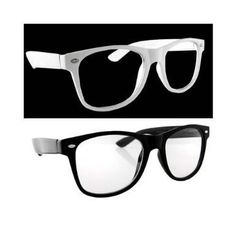 9f34183b307 Lot of 2 Nerd Glasses Buddy Holly Wayfarer Black and White Frame Clear Dark  Lenses