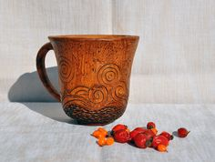 Bell shaped brown organic ceramic mug £15.00