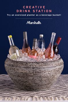 Creative drink station idea! Grab an oversized planter at Marshalls, then fill with ice and use as a unique beverage bucket. Your guests will love the unexpected display — and you'll love the price. Plus, you can use it at all of your summer parties!