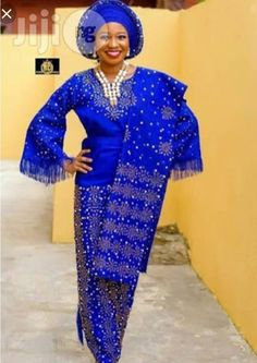 Aso Oke Fabrics /African women's clothing / African fashion/ wedding suit/ elegant women outfit /Special event dress/lace fabrics – Dress Models African Wedding Attire, African Attire, African Outfits, African Clothes, Wedding Suit Styles, Wedding Suits, Modest Wedding, Wedding Dresses, African Lace Dresses