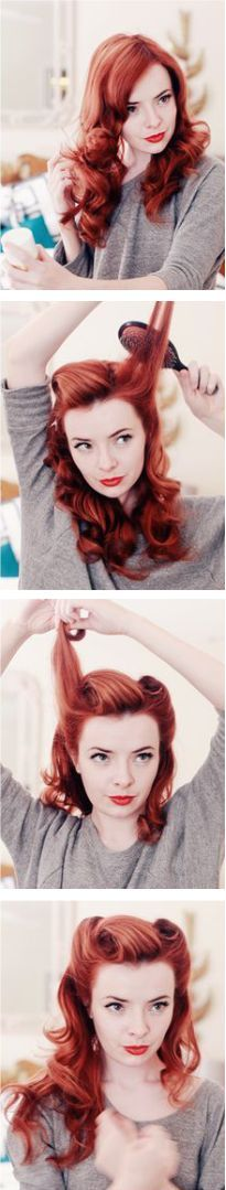 Pinup Victory Rolls tutorial; I want to know how to do this so bad. @Sydnye Andrews McCleery