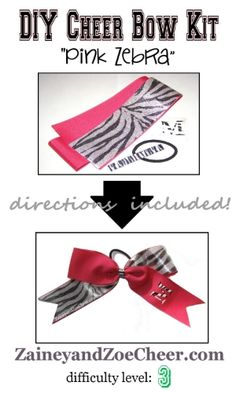 DIY Cheer Bow Kit Pink Zebra- the supplies and instructions to make your own cheer bow! Zaineyandzoecheer.com