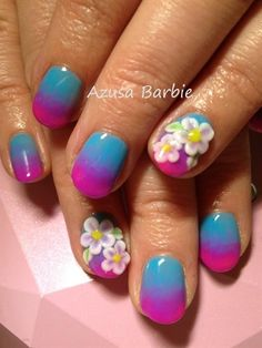 ombre with 3D flowers by azusa - Nail Art Gallery nailartgallery.nailsmag.com by Nails Magazine www.nailsmag.com #nailart