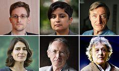 Edward Snowden, Shami Chakrabarti and Julian Barnes. Below: Esther Freud, Ian McEwan and Tom Stoppard.   Photograph: Murdo Macleod/Rex/Felix...