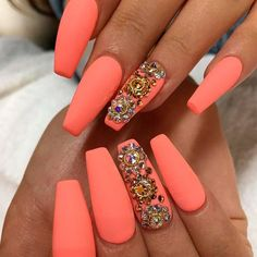 Cool Coffin Shape Nails Designs to copy in 2017 ★ See more: naildesignsjourna . # nails Source by Glam Nails, Beauty Nails, Cute Nails, My Nails, Gems On Nails, Nails 2017, Gem Nail Designs, Acrylic Nail Designs, Nails Design