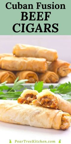 Ground beef seasoned with Sazon and studded with olives and diced potatoes wrapped in buttered phyllo dough baked into golden meat cigars make the best Cuban fusion appetizer or dinner. #recipes #Cubanfusion #appetizer #beef