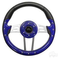 "Blue 13"" Aviator Golf Cart Steering Wheel with Adapter Hub - WHEELZ Custom Carts…"