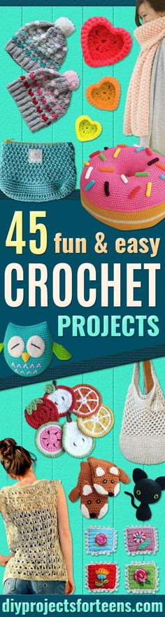 Crochet Patterns and Projects for Teens - Best Free Patterns and Tutorials for Crocheting Cute DIY Gifts, Room Decor and Accessories - How To for Beginners - Learn How To Make a Headband, Scarf, Hat, Animals and Clothes DIY Projects and Crafts for Teenage Easy Crochet Projects, Crochet Patterns For Beginners, Sewing For Beginners, Diy Projects, Crochet Ideas, Crotchet Patterns Free, How To Crochet For Beginners, Sewing Projects, Crochet Tutorials
