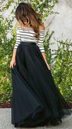 Black Plain Long Skirt