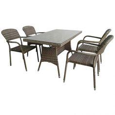 Lilly set Τραπεζαρία παραλληλόγραμμη wicker 130x75cm με 4 πολυθρόνες Outdoor Furniture Sets, Outdoor Decor, Wicker, Table, Home Decor, Decoration Home, Room Decor, Tables, Home Interior Design