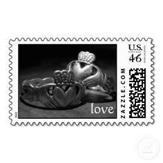 Irish Love Stamps. Wedding postage. Irish wedding  => http://www.zazzle.com/irish_love_stamps-172897512879005572?CMPN=addthis&lang=en?rf=238590879371532555&tc=pinHSPOZPirishlovestampcladdaghrings